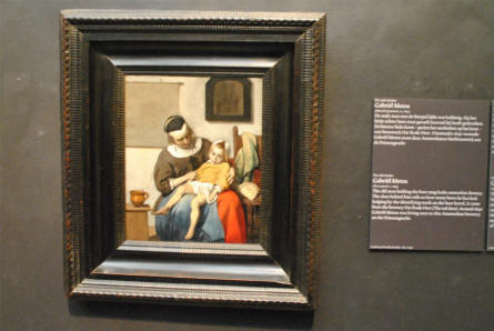 A small classic painting by Gabriél Metsu displayed at the Rijksmuseum in Amsterdam.