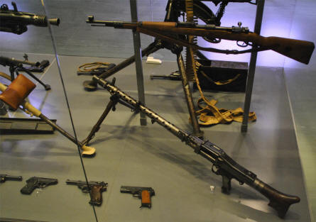 Some of the many World War II paratrooper weapons displayed at the Airborne Museum Hartenstein in Arnhem.
