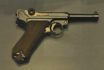 A German World War II Luger P08 pistol displayed at the Airborne Museum Hartenstein in Arnhem.