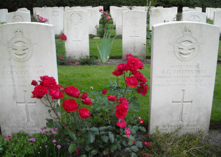 Some of the many World War II war graves of British airmen at the Arnhem Oosterbeek War Cemetery.