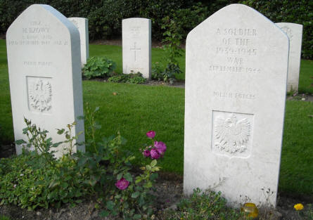 Some of the Polish war graves at the Arnhem Oosterbeek War Cemetery.