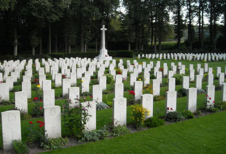Some of the many World War II war graves at the Arnhem Oosterbeek War Cemetery.