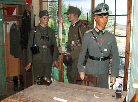 German army uniforms displayed at the Arnhem War Museum.