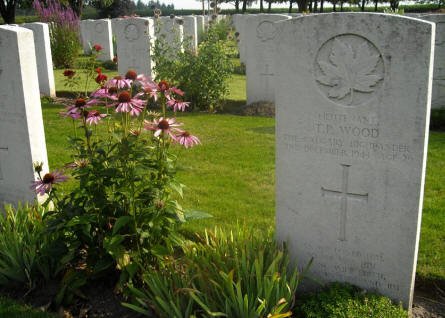 The grave of Lieutenant T.P. Wood at the Groesbeek Canadian War Cemetery.