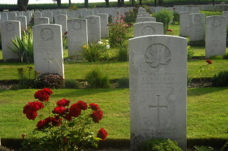 Some of the many World War II war graves at the Groesbeek Canadian War Cemetery.