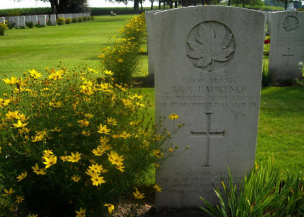 The grave of Private J.R.R. Laurance at the Groesbeek Canadian War Cemetery.