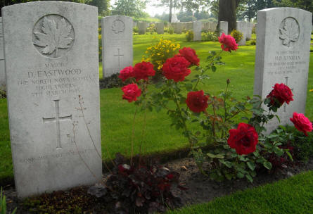 The grave of Major D. Eastwood at the Groesbeek Canadian War Cemetery.