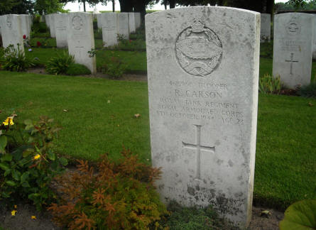 The grave of Trooper R. Carson at the Groesbeek Canadian War Cemetery.