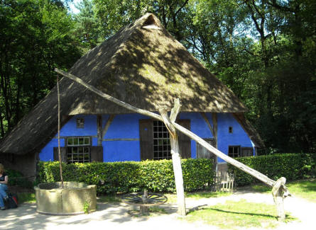 An old Dutch house displayed at the National Heritage Museum (Openluchtmuseum) in Arnhem.