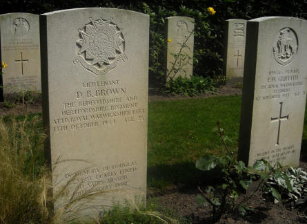 The grave of Lieutenant D.B. Brown - killed the 13th of October 1944 - at the Overloon War Cemetery.