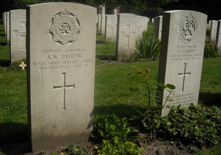 The grave of Corporal A.W. Taylor - killed the 3rd of July 1945 - at the Overloon War Cemetery.