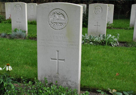 The grave of Captain S. E. B. Lee at the Valkenswaard War Cemetery. Killed in September 1944.