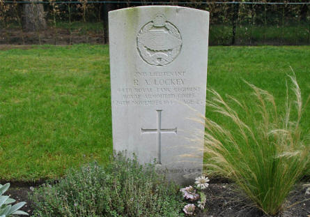 The grave of Lieutenant R. A. Lockey of the Royal Armoured Corps at the Valkenswaard War Cemetery. Killed in November 1944.