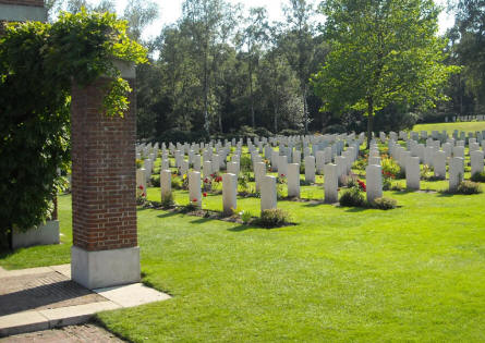 Some of the many World War II war graves at the Holten Canadian War Cemetery.