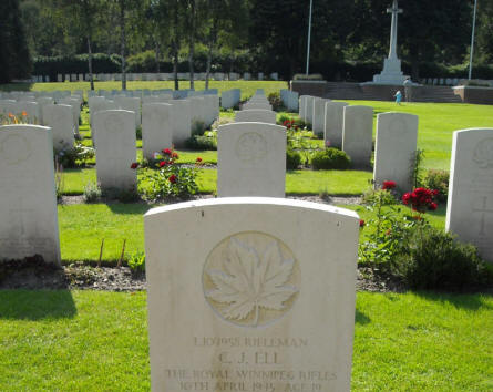The grave of Rifleman C.J. Ell at the Holten Canadian War Cemetery.