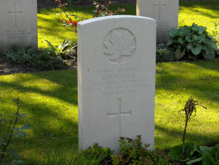 The grave of Sergeant H.T. Baker at the Holton Canadian War Cemetery.
