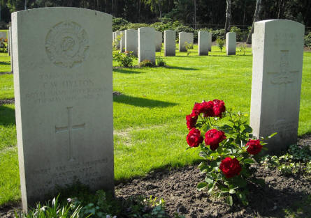 The grave of Driver C.W. Hylton at the Holton Canadian War Cemetery.