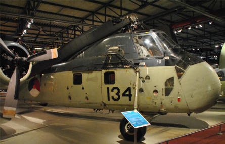 A Sikorsky S-58 helicopter - used by the Dutch Navy -  displayed at the Soesterberg Aviation Museum.