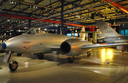 A classic Gloster Meteor jet fighter displayed at the Soesterberg Aviation Museum.