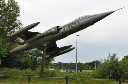 "A Lockheed F-104 Starfighter jet fighter used as ""gate guard""  at the Soesterberg Aviation Museum."
