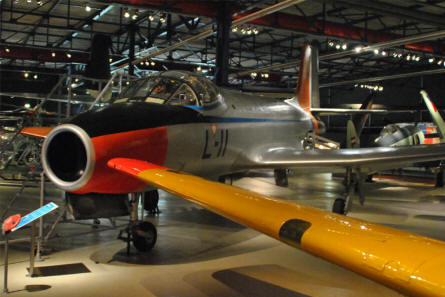 A Fokker S-14 jet trainer displayed at the Soesterberg Aviation Museum.