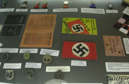 German World War II medals, insignia and papers at the Citadella 1944 Bunker in Budapest.