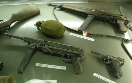 German World War II weapons at the Citadella 1944 Bunker in Budapest.