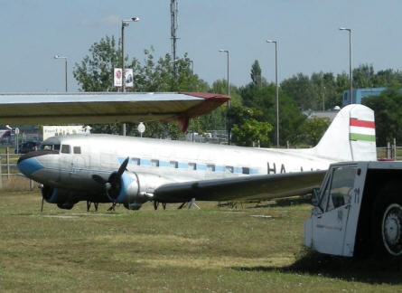"A old commercial ""DC-3 like"" aircraft at the open-air Aircraft Exhibition at Ferihegy Airport - Budapest. The aircraft is a Lisunov Li-2 variant."