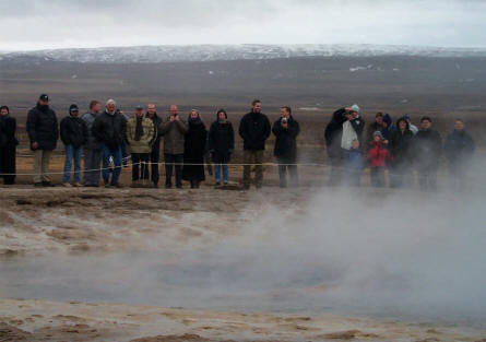 "People waiting for the ""The Great Geysir"" - at the Geysir Center - to erupt."