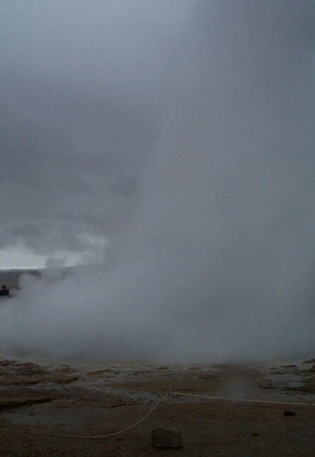 "A large eruption of ""The Great Geysir"" - at the Geysir Center."