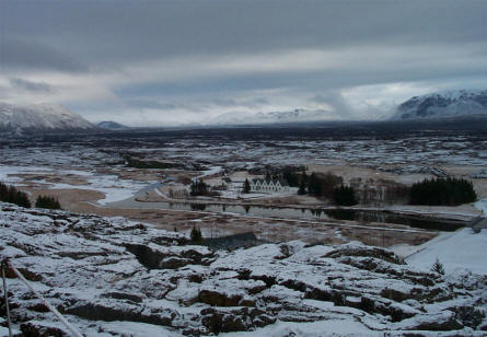 The old Icelandic Parliament is now a protected building inside the Thingvellir National Park.