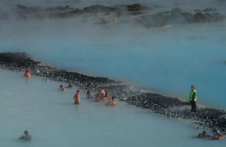 It is possible to swim in the Blue Lagoon all year - even if the lifeguard has to be dressed in hot clothes.