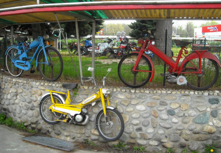 Some of the many vintage mopeds displayed at the Museum Gottard Park.