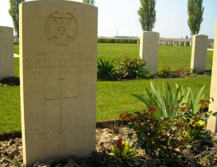 The grave of Lieutenant Colonel J. C. Hope - DSO, MC & bar - at the Argenta Gap War Cemetery.