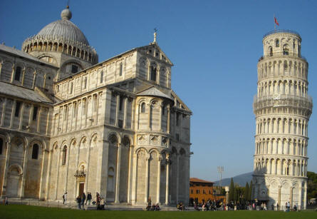 The Leaning Tower of Pisa - with the Cathedral in front of it.