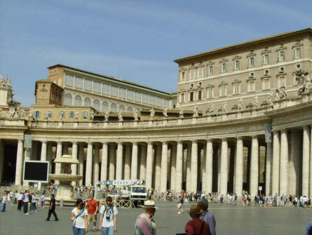 A section of the colonnade that is a part of the St. Peter's Basilica in Rome.