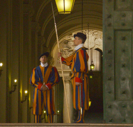 The Vatican Swiss Guard protects the St. Peter's Basilica in Rome - and the Vatican.