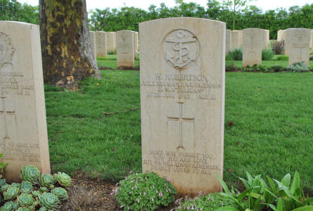 "The World War II grave of Able Seaman W. Robertson of the H.M.S. ""Pelican"" (died on the 26th of July 1945) at the Bari War Cemetery."