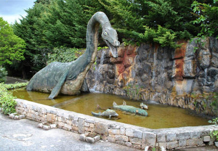 A very long-necked full-size dinosaur displayed at the Dinosaur Park - Castellana Grotte.