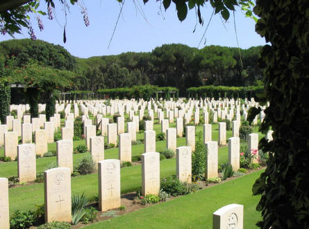 Some of the many war graves at Anzio Beach Head War Cemetery.