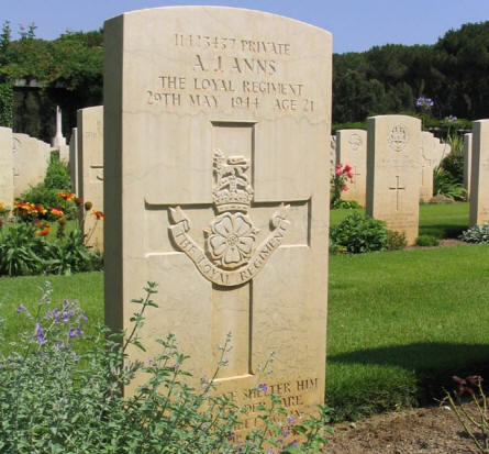 One of the war graves at Anzio Beach Head War Cemetery.