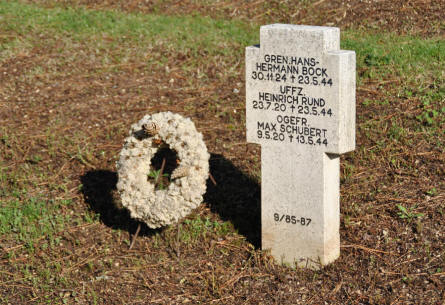 A typical World War II tombstone at the German War Cemetery in Caira - near Monte Cassino.