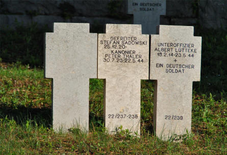 "A typical World War II tombstone at the German War Cemetery in Caira - near Monte Cassino. The ""blank"" one has the names on the other side."