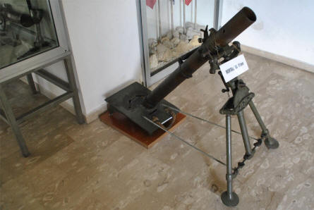 A World War II mortar displayed at the in-door exhibition of the small museum next to the Italian War Cemetery in Mignano Monte Lungo - near Monte Cassino.