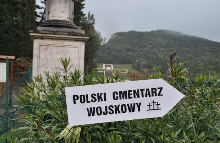 A sign outside the Polish War Cemetery at Monte Cassino.