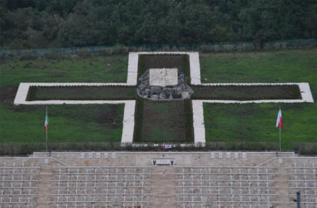 The cross of top of the Polish World War II War Cemetery at Monte Cassino.
