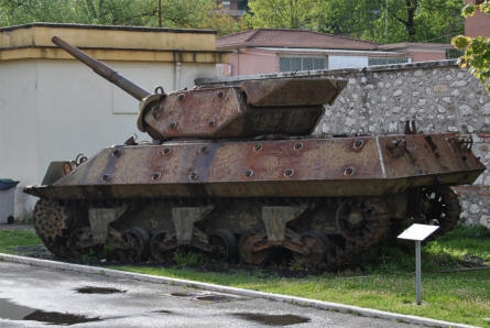 An American World War II M-10 tank destroyer displayed outside the Historical Museum of Cassino.