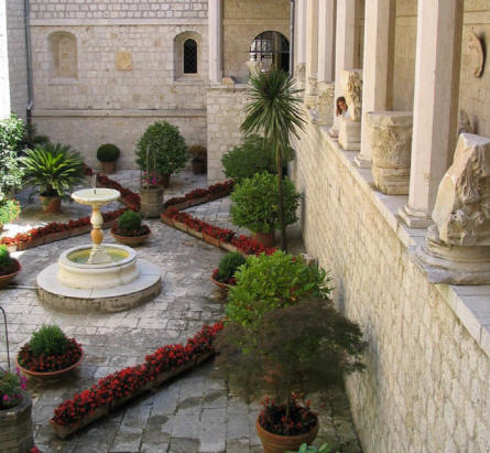 One of the many beautiful gardens inside the Monastery at Monte Cassino.