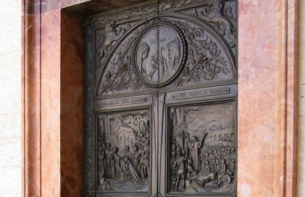 One of the doors inside the Monastery at Monte Cassino.