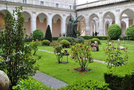 One of the small gardens inside the Monastery at Monte Cassino.